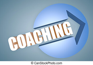 Coaching - text 3d render illustration concept with a arrow...