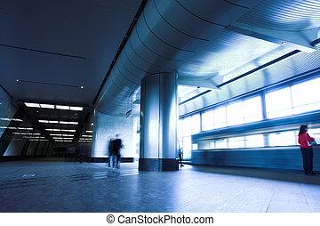 Blue train at subway