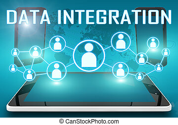 Data Integration - text illustration with social icons and...