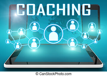 Coaching - text illustration with social icons and tablet...