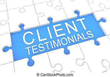 Client Testimonials - puzzle 3d render illustration with...