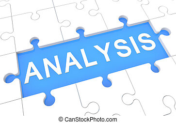 Analysis - puzzle 3d render illustration with word on blue...