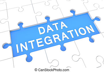 Data Integration - puzzle 3d render illustration with word...
