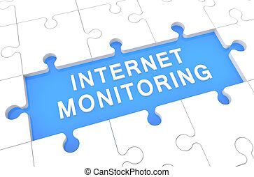 Internet Monitoring - puzzle 3d render illustration with...