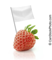 Healthy and organic food concept Fresh Strawberry with flag...