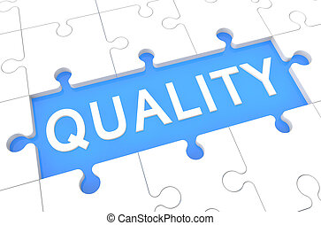 Quality - puzzle 3d render illustration with word on blue...