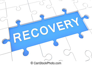 Recovery - puzzle 3d render illustration with word on blue...