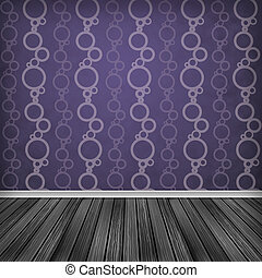 Baccate, Violet, pink Empty room, interior with wallpaper....