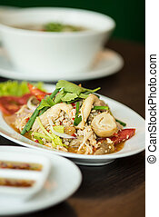 fried pork with sweet peppers, Thai food.