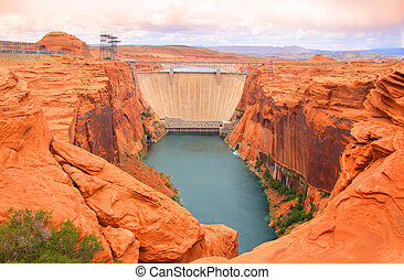 Lake Powell dam in Page Arizona