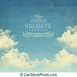 Retro sky with clouds background. Vector.