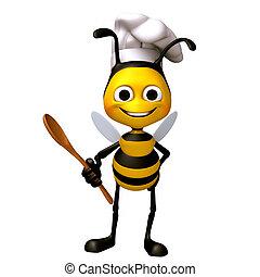 abelha, cozinheiro, alimento, colher