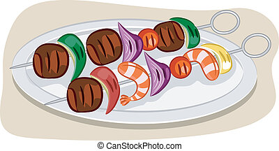 Kebab - Illustration Featuring a Pair of Kebabs on a Plate