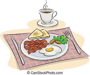 English Breakfast - Illustration Featuring a Traditional...