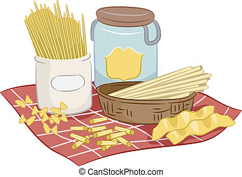Pasta - Illustration Featuring Pasta with Different Shapes...