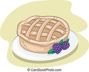 Blackberry Pie - Illustration Featuring a Pie and Some...