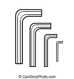 Hex wrench outline vector - image of Hex wrench outline...