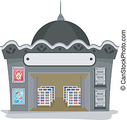 Magazine Shop - Illustration Featuring a Magazine Shop with...