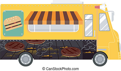Burger Food Truck - Colorful Illustration of a Food Truck...