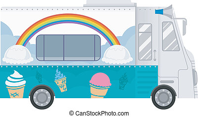 Ice Cream Food Truck Illustration