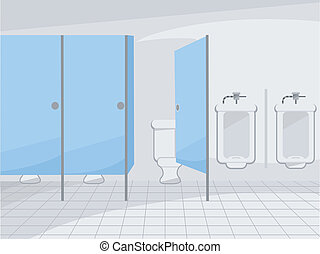 Public Restroom - Illustration of a Public Restroom with...