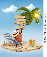 Beach with a palm tree, a direction sign and a beach chair...