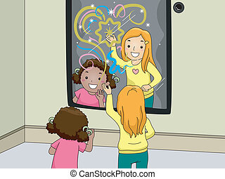 Interactive Mirror - Illustration of Children Happily...