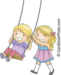 Sister Swing - Illustration of a Little Girl Pushing Her...