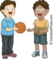 Boys Sharing Basketball - Illustration of a Boy Sharing His...