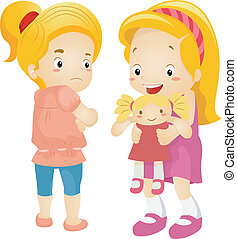 Jealous Girl - Illustration of a Little Girl Jealous Over...