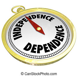Independence Vs Dependence Compass Pointing Way Direction -...