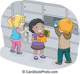 Locker Kids - Illustration of Little Kids Putting Their...
