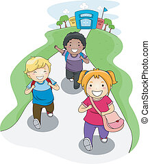 Going Home from School - Illustration of Kids Going Home...