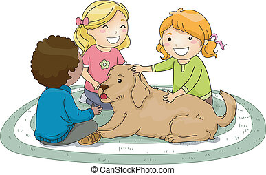 Kids Petting Dog - Illustration of Kids Petting a Dog
