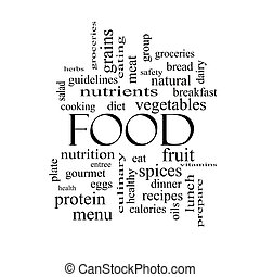 Food Word Cloud Concept in black and white