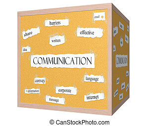 Communication 3D cube Corkboard Word Concept with great...