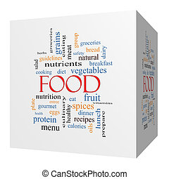 Food 3D cube Word Cloud Concept