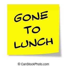 ido, almoço, pegajoso, nota