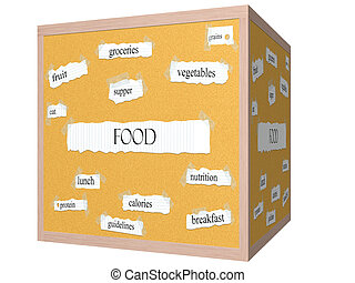 Food 3D cube Corkboard Word Concept with great terms such as...