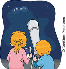Star Gazing - Illustration of Kids Using a Telescope to...