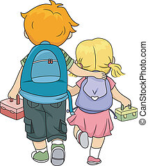 Siblings Walking Home - Illustration of a Big Brother...