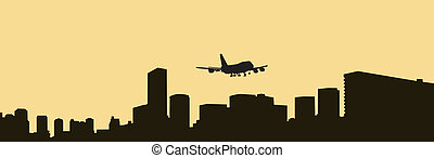 The big city and the plane on a sun
