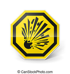 Explosion sign - Shiny metal warning sign of explosion on...