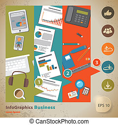 Template for infographic with symbol of the business and internet in vintage style