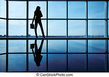 Businesswoman in office - Outline of office worker with...