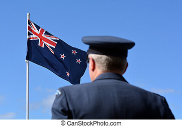 Anzac Day - War Memorial Service - MANGONUI, NEW ZEALAND -...