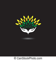 eco friendly icon with girls hands and green leaves -...