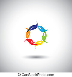 colorful peoples hands multi racial community - concept...