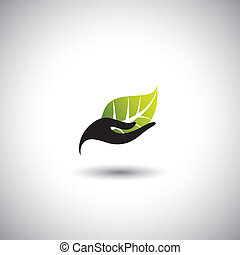 hand & leaf - nature conservation or spa concept vector. The...
