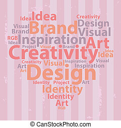 Text cloud. Design wordcloud. Typography concept. Vector...